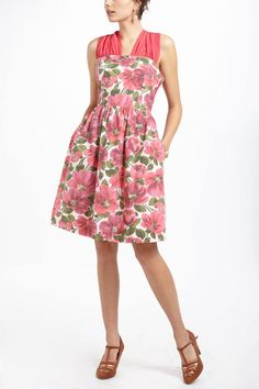 Pinwheel Dress Pink Floral Fit & Flare Electric Love Light Anthropologie, Size 8 #Anthropologie #TeaDress #AnyOccasion