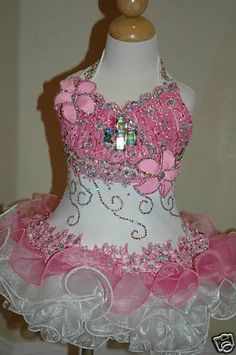 Pink and White glitz Pagent Dress