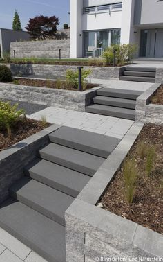 Entrance area with outside stairs and intermediate platforms. This is how the path works and .Entrance area with outside stairs and intermediate platforms. This is how the path works and . outside stairs through Outside Stairs, Outdoor Stairs, External Staircase, Garden Stairs, Garden Path, Sloped Garden, Modern Stairs, Modern Garden Design, Concrete Patio
