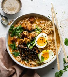 This Tahini Miso Ramen with Crispy Tofu is not your average ramen. Soom Tahini gets added into the broth, which adds a slight viscosity and beautiful depth. Vegetarian Ramen Recipe, Vegan Ramen, Ramen Recipes, Grilling Recipes, Veggie Recipes, Asian Recipes, Cooking Recipes, Healthy Recipes, Ethnic Recipes