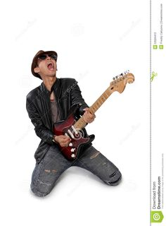 Passionate Guitar Solo Rock Guitarist Screaming Playing Isolated