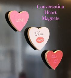 Conversation Heart Magnets Craft - an easy way to turn your favorite sayings into adorable magnets!