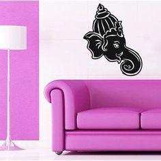 Indian Elephant Ganesha Vinyl Sticker Yoga Home Design Interior Animals Art Dorm Murals Sticker Decal size 33x45 Color