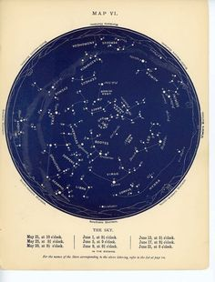 1884 may & june constellations star map original antique celestial astronomy chart