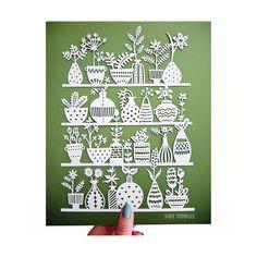 Original Papercut  Potted Plants  Handcut 8x10 by SarahTrumbauer
