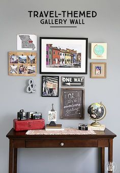 What a great way to display your travel experiences! A travel-themed gallery wall... with a DIY Instagram Photo Frame tutorial too!  www.livelaughrowe...