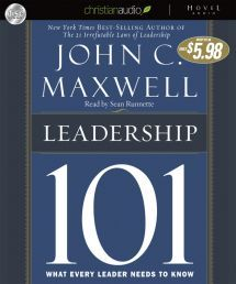 LEADERSHIP 101 AUDIO BOOK by JOHN C MAXWELL.  In a concise, straightforward style, Maxwell focuses on essential and time-tested qualities necessary for true leadership - influence, integrity, attitude, vision, problem-solving, and self-discipline - and guides readers through practical steps to develop true leadership in their lives and the lives of others. Available from CUM Books.