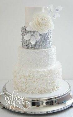 Wedding Cake Decorations, Wedding Cake Designs, Wedding Cake Toppers, Cake Wedding, Silver Wedding Cakes, Silver Weddings, White Silver Wedding, Gold Wedding, Wedding Ceremony