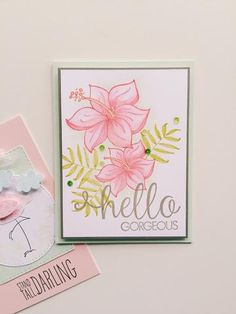 Say hello with this beautiful and spring inspired handmade card idea. All stamps, dies, and card stock by A Muse Studio. Tropical Blooms stamp set and Hello Gorgeous stamp set. #cas #diy #stamping #handstamped #papercrafts #cardideas #amusestudio #flowers