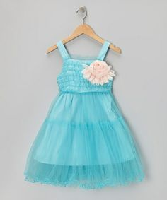 Take a look at this Blue Ruffle Rosette Dress - Toddler & Girls by Paulinie on #zulily today!