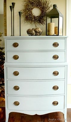 A dresser from a consignment store gets a makeover with some of Miss Mustard Seed's milk paint