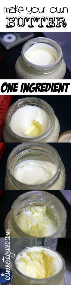 Make your own butter! One ingredient in a jar with step by step instructions. I bet it's yummy! Homemade Cheese, Homemade Butter, Flavored Butter, Butter Recipe, Real Food Recipes, Yummy Food, Creme Dessert, Churning Butter, Canning Recipes