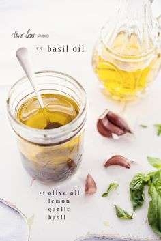 Basil Infused Olive Oil 2 cups good quality olive oil Slice of lemon 1 large clove of garlic Handful of torn basil leaves, Flavored Oils, Infused Oils, Food Photography Course, Life Photography, Smoothies, Basil Oil, Food Gifts, Diy Gifts, Creative Food
