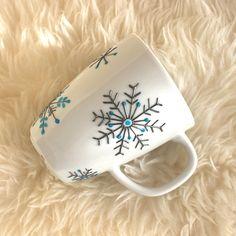 "Hand Painted Porcelain Mug - ""Snowflake"" Design Tea Mug Coffee Mug Gift Idea for…"