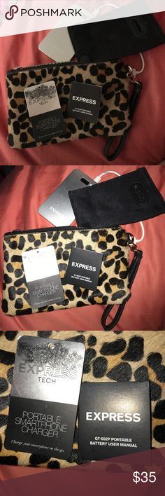 Express Portable Charger Wristlet Cheetah print; portable charger inside compatible with all smartphones! Never once been used. Comes with tags and user manual :) Express Accessories Phone Cases