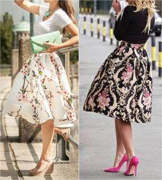 saia midi, saia rodada floral - moda anti-idade
