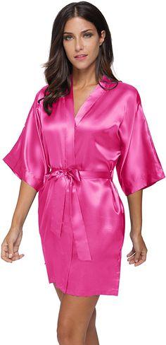 ea47f9da714 The Bund womens Pure Colour Short Kimono Robes with Oblique V-Neck apricot  Small at Amazon Women s Clothing store  tibcsi24 · Satin