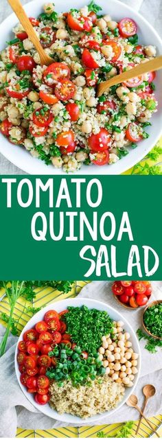 Tomato Quinoa Salad It's time to add another tasty quinoa recipe to our meal prep game! This Tomato Quinoa Salad is fast, flavorful, and easily made in advance for speedy lunches and sides for work, school, or home! Healthy Meal Prep, Healthy Salad Recipes, Healthy Lunches, Dessert Healthy, Dinner Healthy, Healthy Foods, Quinoa Salad Recipes Easy, Snack Recipes, Clean Foods