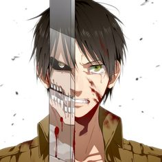 A picture of Eren half human form, half Titan form. This photo is amazing! ❤️