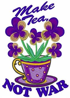 Concord Collections Free Embroidery Design: Make Tea 4.04 inches H x 2.90 inches W