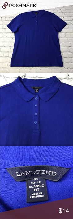 "Lands End Boys Polo NWOT Lands End Boys Shirt Polo New Classic Fit Royal Blue Cotton Blend   Measurements ~ Length: 27"" Condition:  NWOT  Measurements are taken as follows:  Chest ~ laid flat, no stretching, underarm to underarm. Length:  laid flat, measured from waistband or shoulder to bottom front hem. 