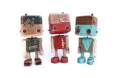 Recycled wooden robot  the two-tone wood and old rose