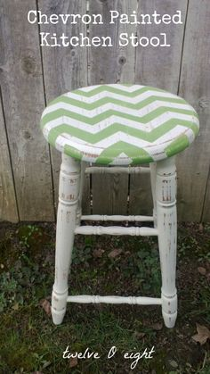 twelveOeight: Chevron Painted Kitchen Stool. I also have an old stool that can be upcycled. I love the chevron idea.