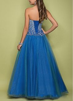 Charming Tulle & Stretch Satin Ball Gown Long Strapless Sweetheart Beaded Prom Dress