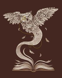 """Flow of Wisdom"" von Enkel Dika book, owl"