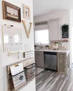 Command Center Kitchen, Family Command Center, Family Organization Wall, Family Organizer, Brown Kitchens, Home Kitchens, Comand Center, Organize Your Life, Apartment Living
