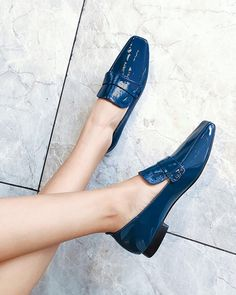 Polished Square Toe Loafers, Blue / US7 Pointed Toe Block Heel, Block Heel Loafers, Heeled Loafers, Block Heels, Shoes Heels Pumps, Women's Shoes, High Heels, Loafer Shoes, Women's Stilettos