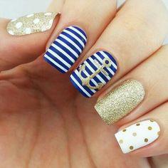 Anchor nails, August nails, Gel polish sea nails, Marine nails, Nails nautical, Nautical nails, Sea nails, Sea nails ideas