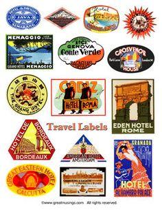 Digital Collage Sheet Download Vintage worldwide Travel Labels Sold & Renewed on #Etsy