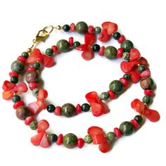 Salmon Red Moss Green Statement Necklace  Chunky 20 by ALFAdesigns, $59.99