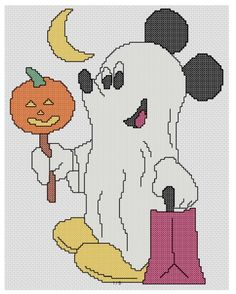 This free pattern has Mickey Mouse all dressed up as a ghost and ready for trick or treating. The stitch count is 115 wide by 146 high an...