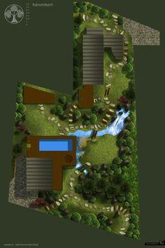 Japanese garden design layout plan in 3-D graphics.  by ~staudtagi