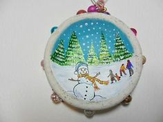 Hand painted sea pottery Christmas tree decoration - Snowman & children playing