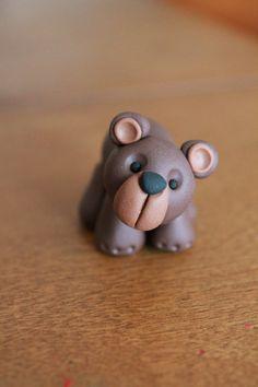 Woodland Style Brown Bear - Polymer Clay -  Terrarium Accessory - Fairy Garden - Miniature Garden - Accent - Made to Order