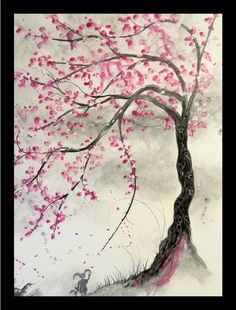 Buy Art For Less 'Cherry Blossom Tree' by Ed Capeau Graphic Art on Wrapped Canvas Size: 32 Pink Blossom Tree, Blossom Tree Tattoo, Cherry Blossom Painting, Tattoo Cherry Blossoms, Cherry Blossom Outline, Cherry Blossom Pictures, Cherry Blooms, Cherry Flower, Flower Tree