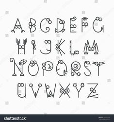 Cute line latin alphabet. Isolated, outline, empty letters for kids design. Polices et Calligraphie Doodle Alphabet, Doodle Art Letters, Handwriting Alphabet, Hand Lettering Alphabet, Doodle Lettering, Alphabet Design, Creative Lettering, Types Of Lettering, Hand Type
