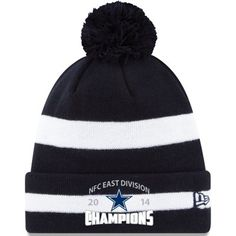 256d1cb0374 Mens Dallas Cowboys New Era Navy Blue White 2014 NFC East Division Champions  Cuffed Knit Hat