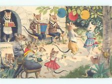 Unused Pre-1980 HUMANIZED MOUSE FAMILY DANCES IN CLOTHING k8415