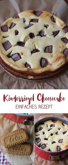 Kinderriegel Cheesecake mit Karamellkeksboden - einfaches Rezept #kinderriegel #rezept #cheesecake