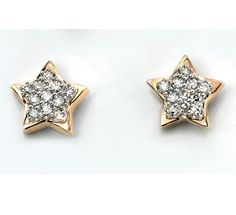 Diamond Pave` Set Star Earrings - Geeves Jewellers - suppliers of watches and jewellery, London