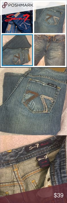Designer 7 Jeans Absolutely Awesome Excellent Condition Designer Jeans just beginning to distress for that ultra sexy trendy vibe. Photos above show, brand, size and overall condition. Close up photos show the beginning Distressed Trend . If you have any questions please don't hesitate to ask 🌸 Seven7 Jeans Boot Cut