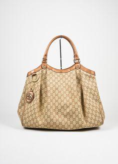 "Brown Gucci Monogram Canvas ""Sukey"" Tote Bag"