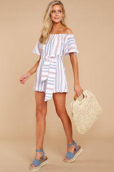 b6299abab568 Cute Blue Striped Romper - Off The Shoulder Playsuit - Romper -  44 – Red  Dress