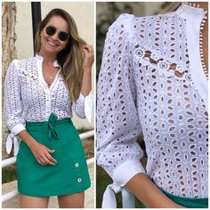 Chic Summer Outfits, Trendy Outfits, Fashion Wear, Fashion Dresses, Womens Fashion, Blouse Styles, Blouse Designs, Lace Outfit, Business Attire