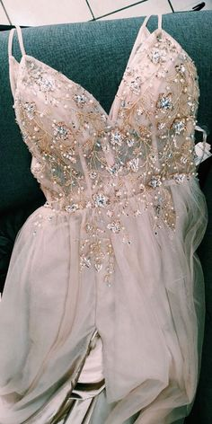 A-Line Beaded Rose Wood Prom Dress with Crystal dress for 2020 prom, crystal long prom dress with spaghetti straps and side slit Pretty Prom Dresses, Prom Dresses For Teens, Prom Dresses Long With Sleeves, Hoco Dresses, Formal Dresses For Weddings, Black Prom Dresses, Prom Dresses Long Open Back, Homecoming Dresses, Dress Long