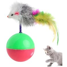 Milkhouse Cat Toy, Pet Dog Cat Play Tumbler False Mouse Toy Feather Ball Activity Toy ** Click on the image for additional details. (This is an affiliate link) #Cats
